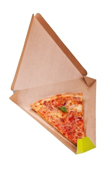 Pizza slice isolated on white