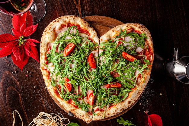Pizza for valentine's day in the shape of a heart