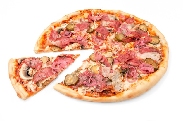 Pizza. with fresh champignons, bacon, salami, pickled cucumbers, red onions and mozzarella cheese. a piece is cut off from pizza. white background. isolated. close-up.