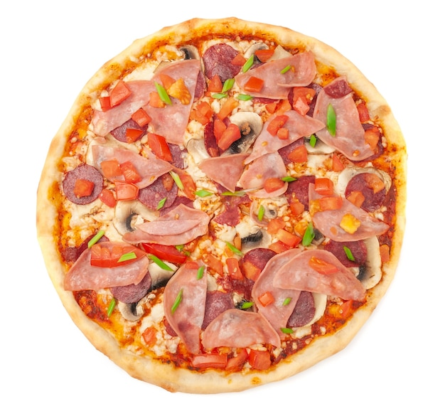 Pizza with fresh champignons bacon smoked chicken fillet mozzarella cheese sliced tomato and green onions a piece is cut off from pizza white background isolated closeup view from above