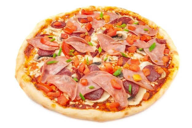 Pizza with fresh champignons bacon smoked chicken fillet mozzarella cheese sliced tomato and green onions white background isolated closeu