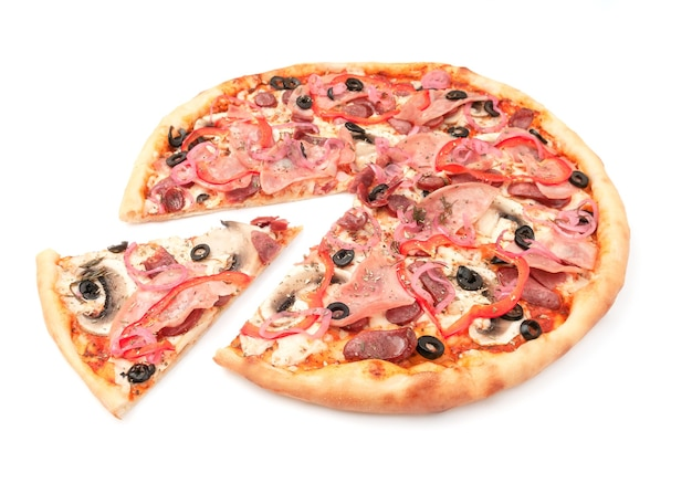 Pizza with fresh mushrooms, hunting sausages, olives, red bell peppers, onions, mozzarella cheese, ham. a piece is cut off from pizza. white background. isolated. close-up.