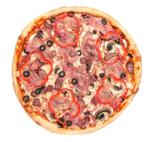 Pizza with fresh mushrooms hunting sausages olives red bell peppers onions mozzarella cheese ham a piece is cut off from pizza white background isolated closeup view from above