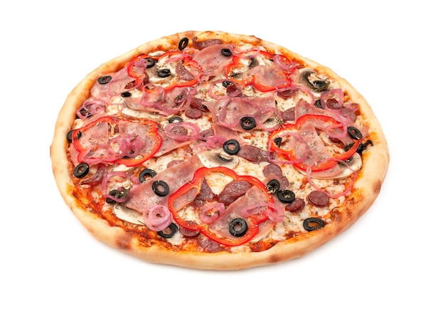 Pizza with fresh mushrooms, hunting sausages, olives, red bell peppers, onions, mozzarella cheese, ham. white background. isolated. close-up.