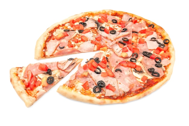 Pizza. with ham, smoked meat, olives, slices of tomato, mushrooms and mozzarella. a piece is cut off from pizza. white background. isolated. close-up.
