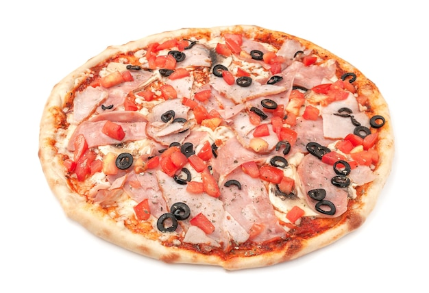 Pizza. with ham, smoked meat, olives, slices of tomato, mushrooms and mozzarella. white background. isolated. close-up.