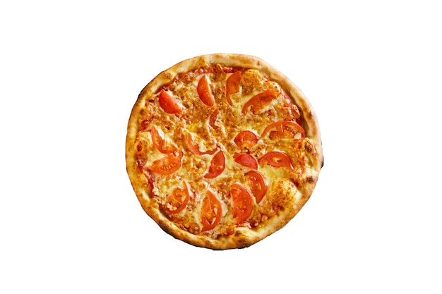Pizza with ham and tomato isolated