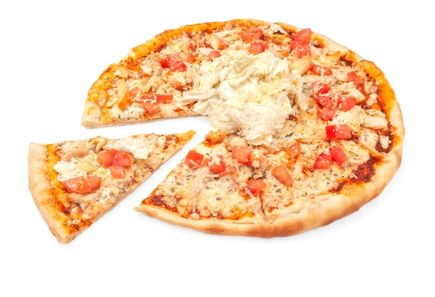 Pizza with mozzarella cheese smoked chicken fillet sliced tomato beijing cabbage and caesar dressing a piece is cut from pizza white background isolated closeup