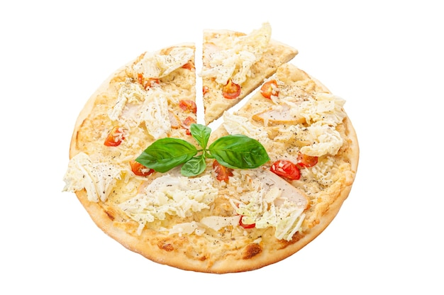 Pizza. with mozzarella cheese, smoked chicken fillet, tomato slices, beijing cabbage and caesar dressing. white background. isolated. close-up.