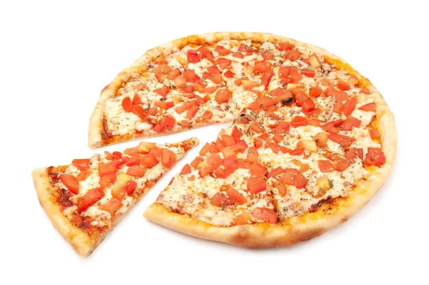 Pizza. with parmesan, mozzarella, tomato slices, and oregano. a piece is cut off from pizza. white background. isolated. close-up.