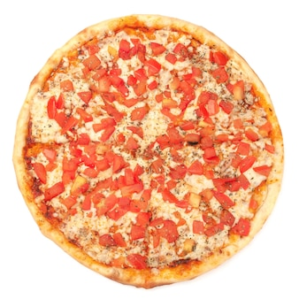 Pizza. with parmesan, mozzarella, tomato slices, and oregano. view from above. white background. isolated.