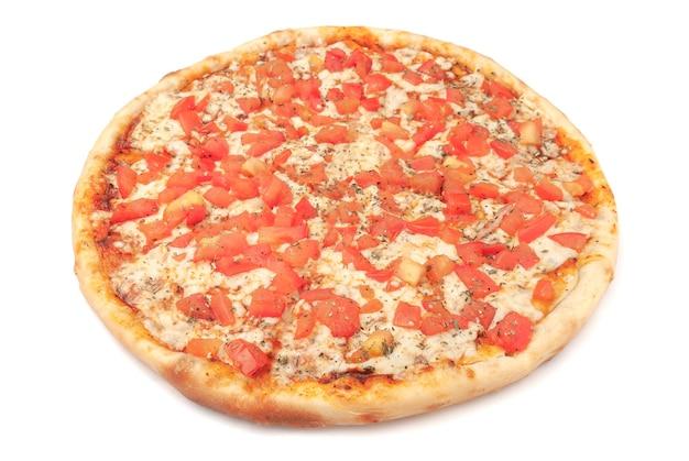 Pizza. with parmesan, mozzarella, tomato slices, and oregano. white background. isolated. close-up.