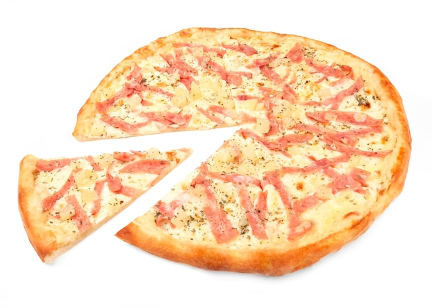 Pizza with pineapple, mozzarella and ham. a piece is cut off from pizza. white background. isolated. close-up.