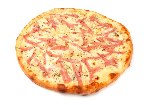 Pizza with pineapple, mozzarella and ham. white background. isolated. close-up.