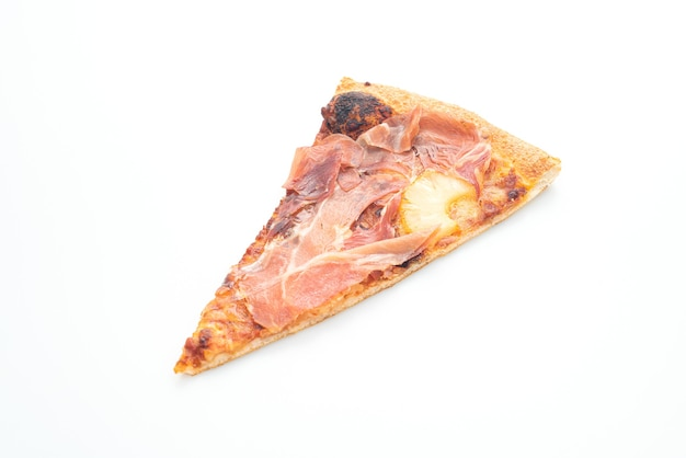 Pizza with prosciutto or parma ham pizza isolated on white background