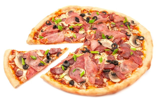Pizza. with salami, ham, hunting sausages, mushrooms. mozzarella cheese, olives and green onions. a piece is cut off from pizza. white background. isolated. close-up.