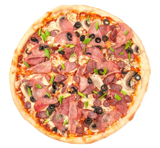 Pizza. with salami, ham, hunting sausages, mushrooms. mozzarella cheese, olives and green onions. view from above. white background. isolated.