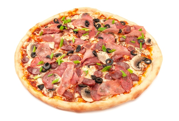 Pizza. with salami, ham, hunting sausages, mushrooms. mozzarella cheese, olives and green onions. white background. isolated. close-up.