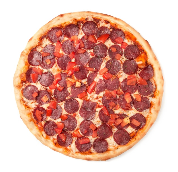 Pizza with slices of tomato, pepperoni, pickled cucumbers, mozzarella cheese, green. onions, oregano. view from above. white background. isolated.