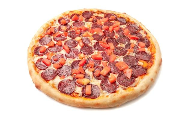 Pizza with slices of tomato, pepperoni, pickled cucumbers, mozzarella cheese, green. onions, oregano white background. isolated.