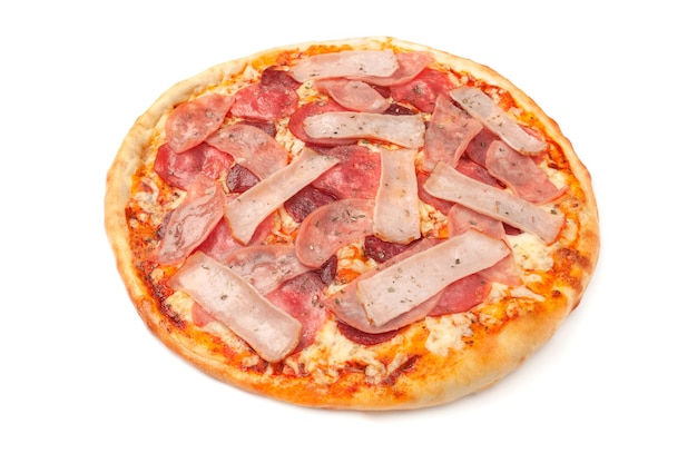 Pizza with smoked meat, chicken, ham, salami, tomato slices and mozzarella. white background. isolated.