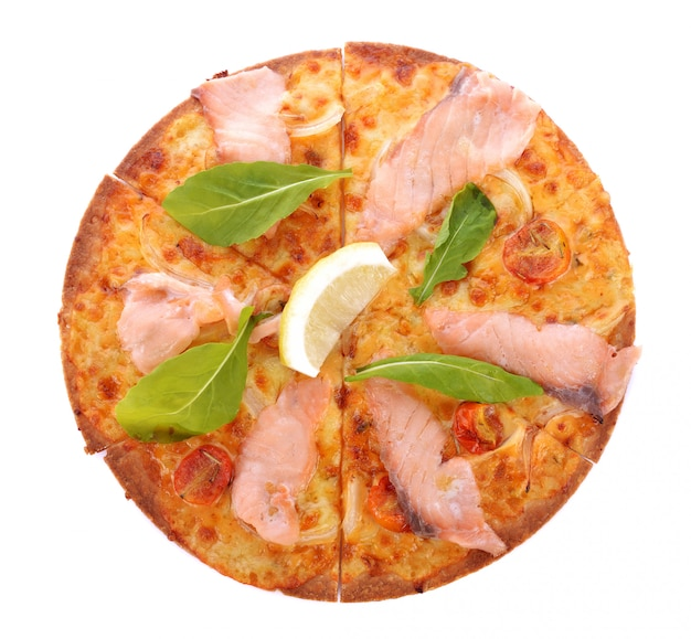 Pizza with smoked salmon isolated on white.