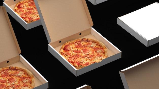 Pizzas inside boxes
