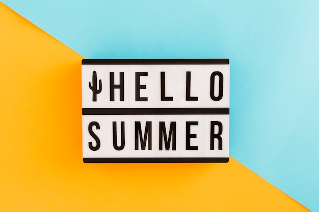 Placard with summer text on colorful background