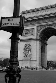 Place charles de gaulle street sign in paris france