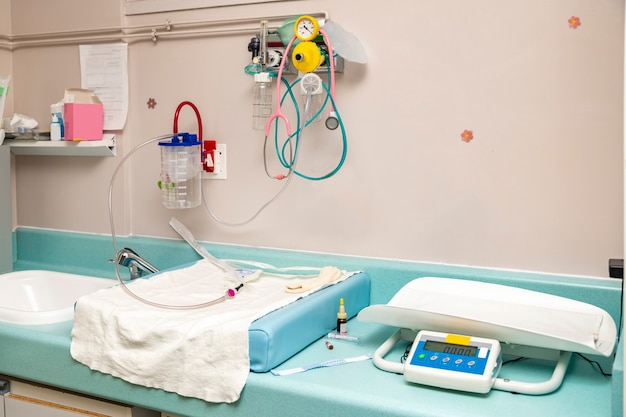 Place for resuscitation and examination of a newborn baby in the hospital childbirth.