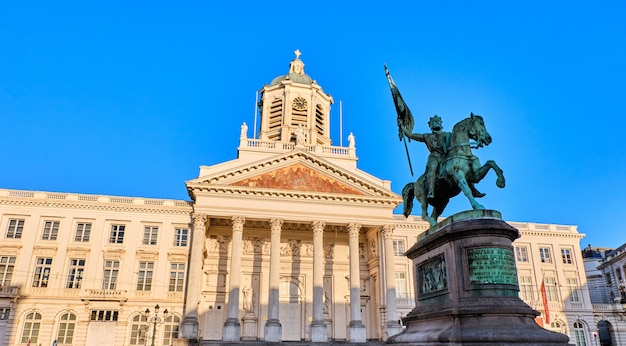 Place royale with godefroid statue in brussels, belgium