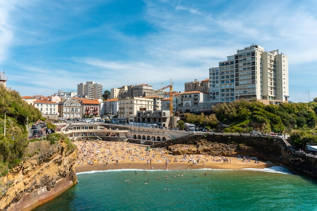Plage du port vieux in biarritz, summer holidays in the southeast of france