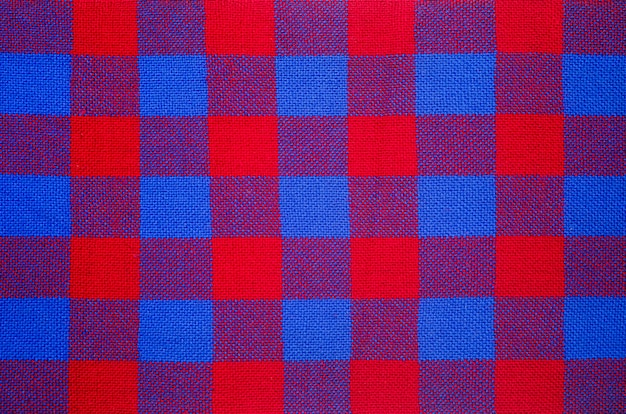 Plaid material. red and blue cage clothes background