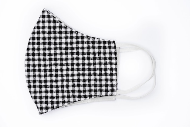 Plaid pattern black and white background on isolated background