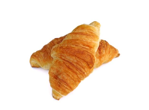 Plain croissant on white background