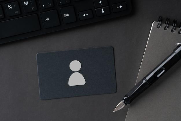 비즈니스 및 hr 아이콘 개념에 대한 일반 이름 카드