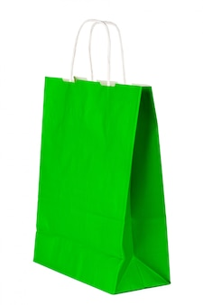Plain paper shopping bag isolated on white background