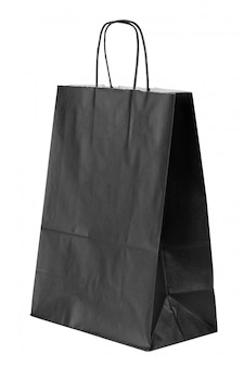Plain paper shopping bag isolated on white