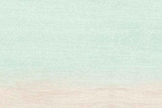 베이지 색 목재 제품 배경이있는 일반 파스텔 그린