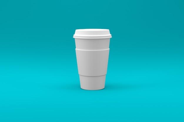 색된 표면에 고립 된 일반 흰색 커피 컵 프리미엄 사진