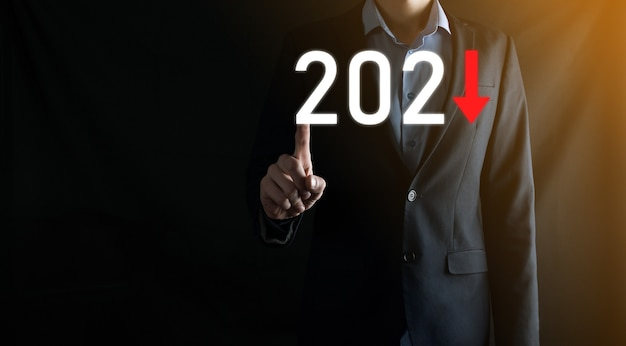 Plan business negative growth in year 2021 concept. businessman plan and increase of negative indicators in his business, decline down business concepts.