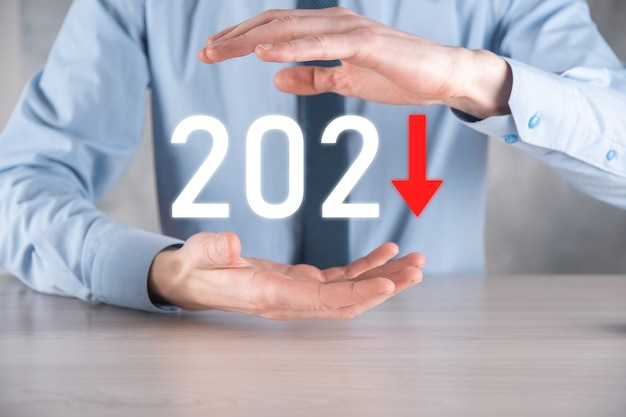 Plan business negative growth in year 2021 concept
