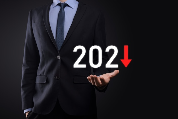 Plan business negative growth in year 2021 concept.