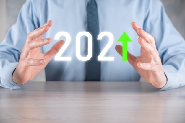 Plan business positive growth in year 2021 concept