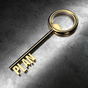 Plan - golden key on black metallic background. 3d rendering