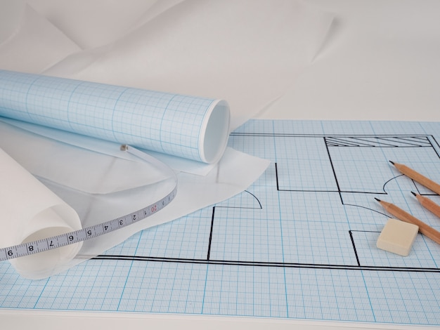 Plan on graph paper, the process of plan construction and new design of cozy home, pachuca new apartment. graph paper for sketching, pencils, and graph paper in roll