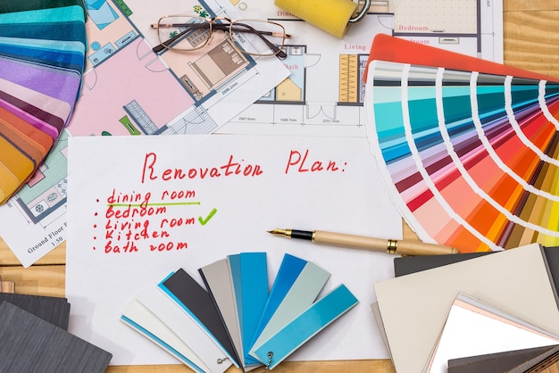 Plan for reconditioning with color samplers and  room plan