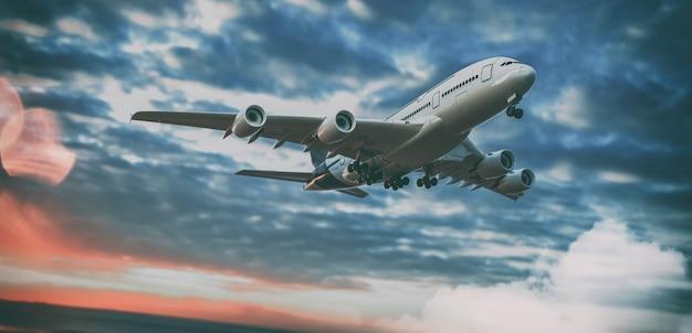 비행기와 하늘입니다. 3d 렌더링 및 그림입니다.