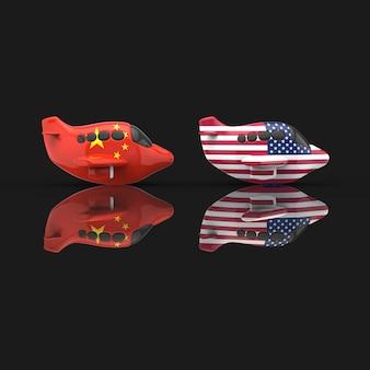 Самолет и транспортная концепция - 3d иллюстрация