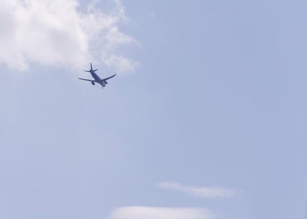 青い空を背景に遠くに飛んでいく飛行機